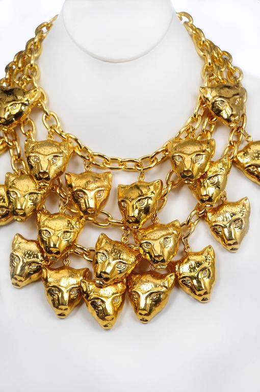 Escada Gold Panther Charm Necklace For Sale at 1stdibs
