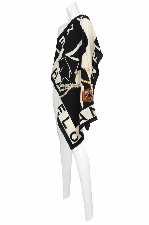 chanel silk print scarf at 1stdibs
