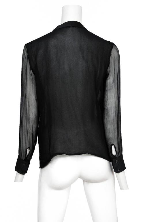 Yves Saint Laurent Black Chiffon Sleeve Top  2