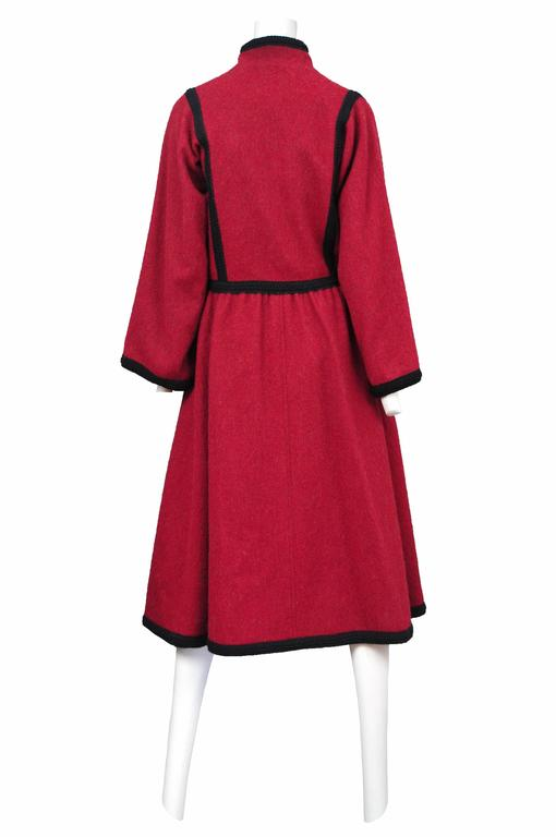 Women's Yves Saint Laurent Red Wool Toggle Coat  For Sale