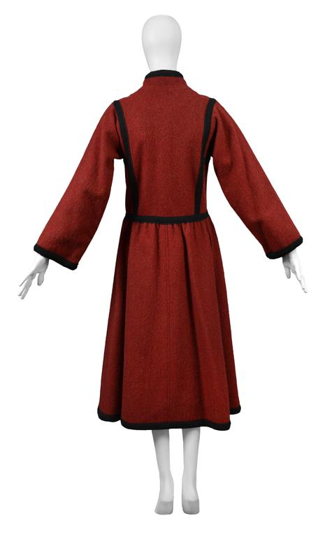 Yves Saint Laurent Red Wool Toggle Coat  In Excellent Condition For Sale In Los Angeles, CA