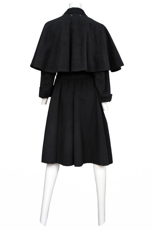 Yves Saint Laurent Black Belted Cape Coat  2