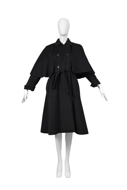 Yves Saint Laurent Black Belted Cape Coat  3