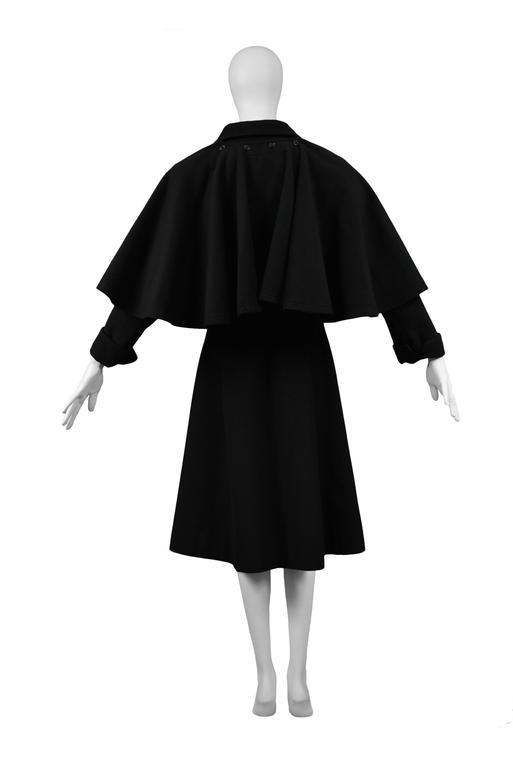 Yves Saint Laurent Black Belted Cape Coat  4