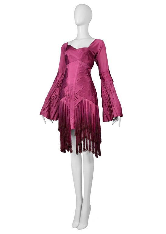 Brown Gucci Fuchsia Tassel Dress For Sale