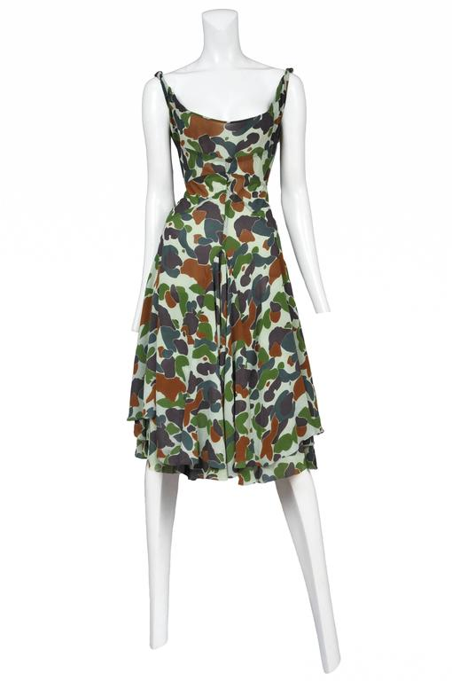 Junya Wantanabe sheer camouflage print structured dress with high hem swing skirt.