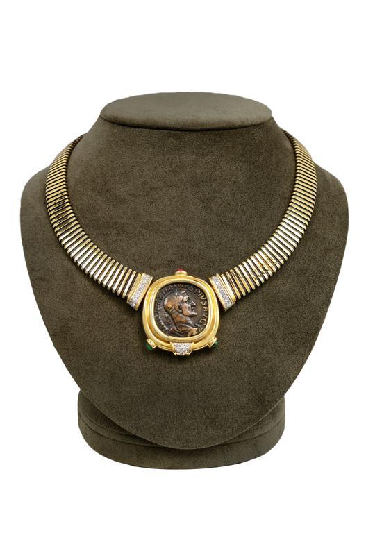 Bulgari Monete Ruby Emerald Diamond Gold Coin Tubogas Necklace  2