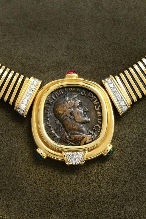 Bulgari Monete Ruby Emerald Diamond Gold Coin Tubogas Necklace  4