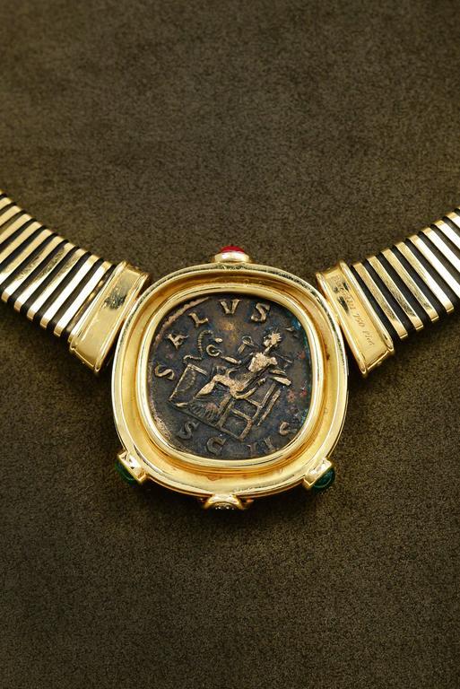 Bulgari Monete Ruby Emerald Diamond Gold Coin Tubogas Necklace  5