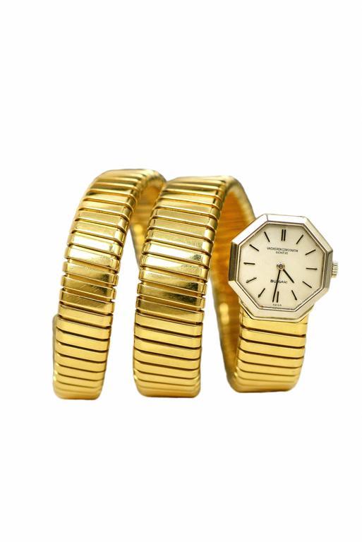 Bulgari Yellow Gold Octagon Tubogas Snake Wristwatch 2