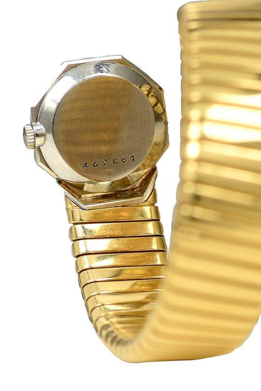 Bulgari Yellow Gold Octagon Tubogas Snake Wristwatch 3
