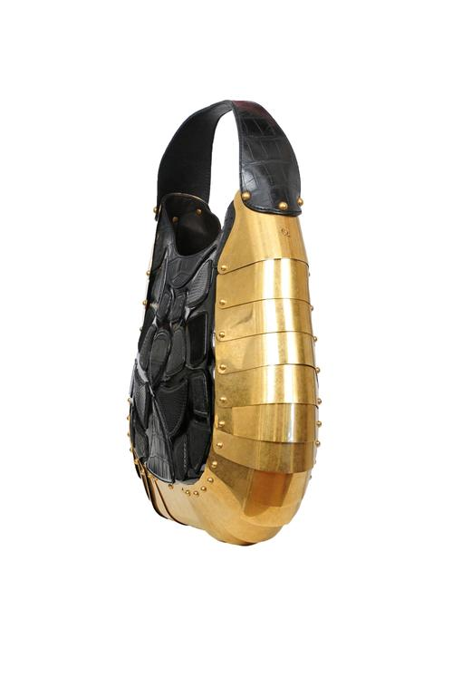 Massive One of a Kind Alexander McQueen Exotic Skins & Brass Armor Bag 2007 3