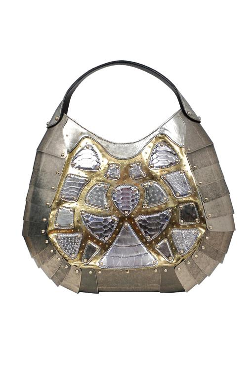 Massive One of a Kind Alexander McQueen Silver Exotic Skins & Metal Bag 2007 In Excellent Condition For Sale In Los Angeles, CA