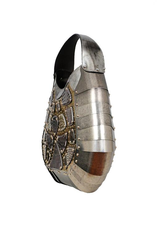 Women's Massive One of a Kind Alexander McQueen Silver Exotic Skins & Metal Bag 2007 For Sale