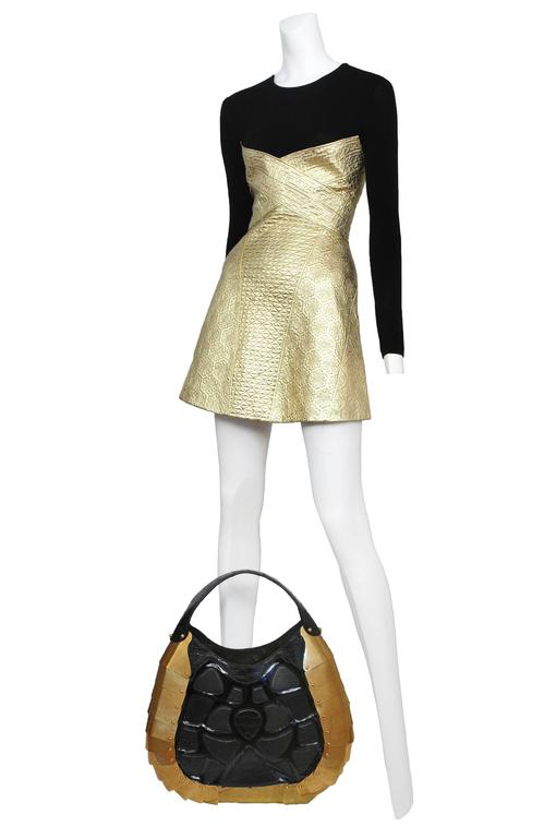 McQueen Gold Dress  In Excellent Condition For Sale In Los Angeles, CA