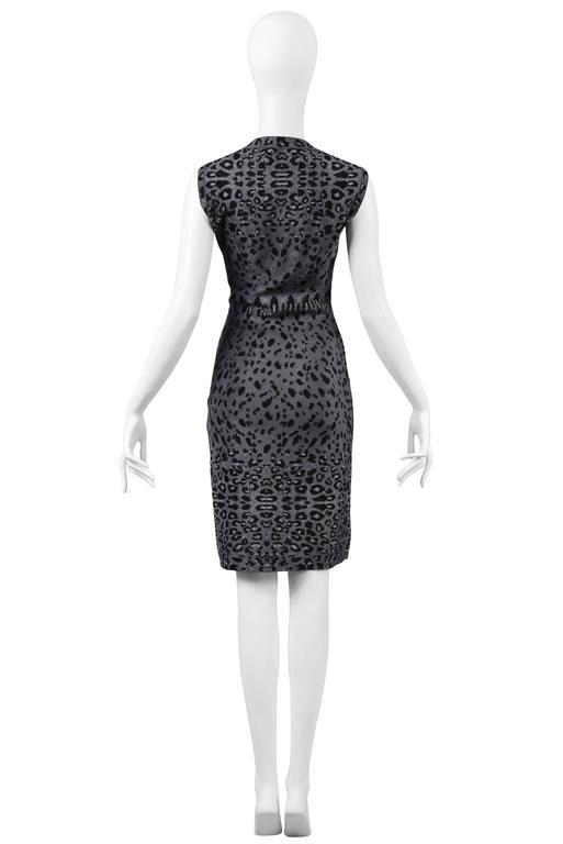 Black Iconic Azzedine Alaia Grey Leopard Bodycon Dress 2011 For Sale