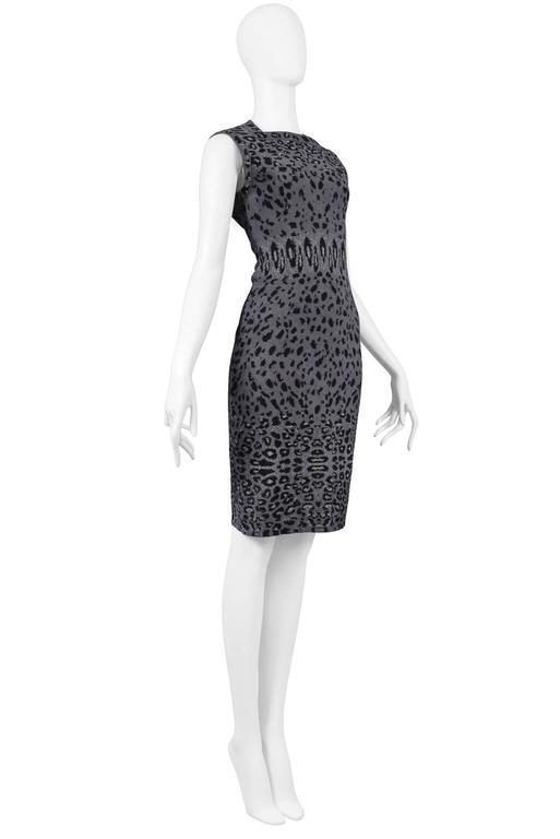 Iconic Azzedine Alaia Grey Leopard Bodycon Dress 2011 For Sale 1