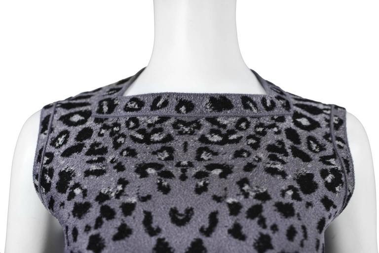 Iconic Azzedine Alaia Grey Leopard Bodycon Dress 2011 For Sale 2