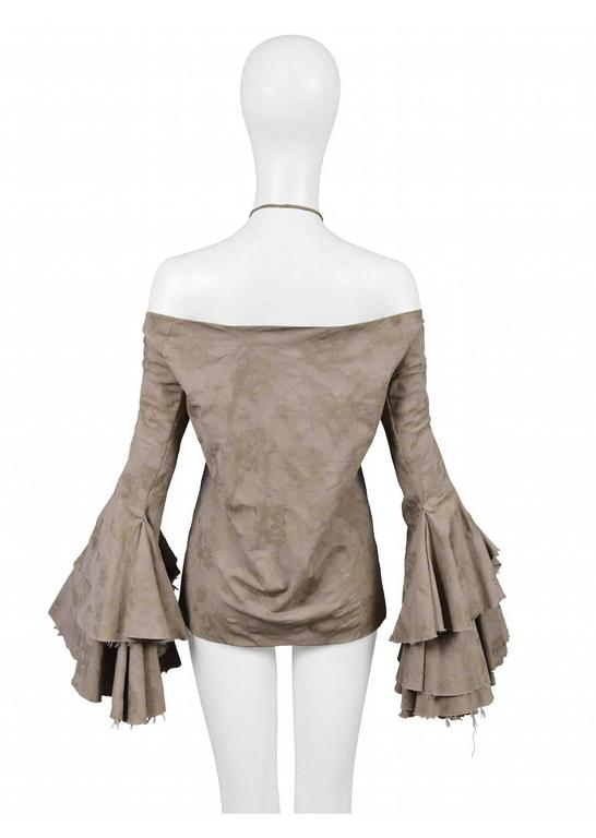 Alexander McQueen Off The Shoulder Ruffle Top 2002 In Excellent Condition For Sale In Los Angeles, CA