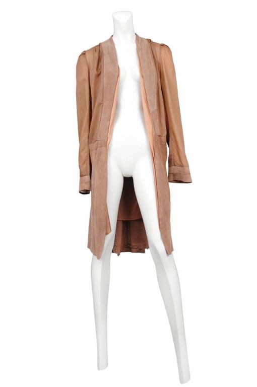 Vintage Maison Martin Margiela artisanal inside out lining coat with suede trim and skirt.   Please inquire for additional images.