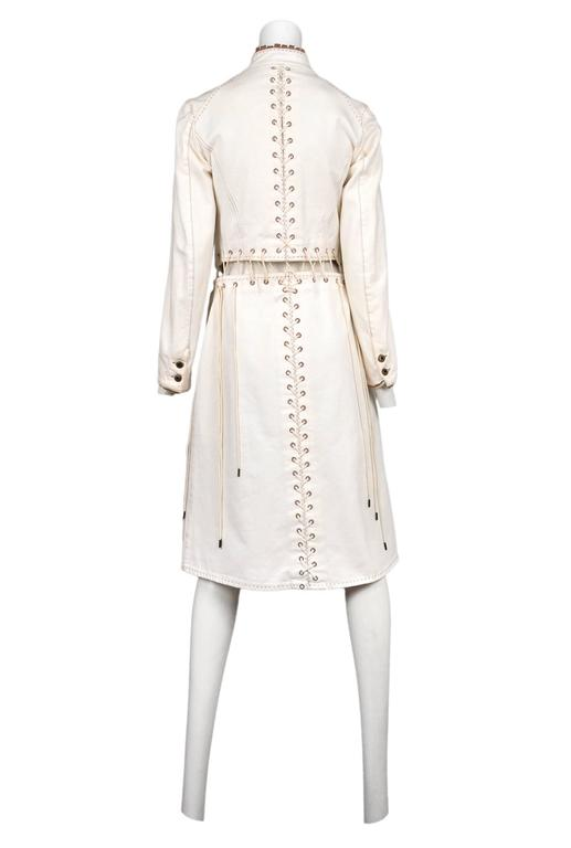White Alexander McQueen Ivory Laces Coat 2004 For Sale