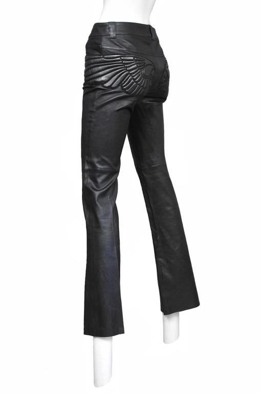 Alexander McQueen Black Leather Skull Pants  In Excellent Condition For Sale In Los Angeles, CA