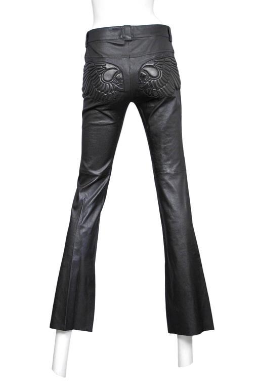 Alexander McQueen Black Leather Skull Pants  4