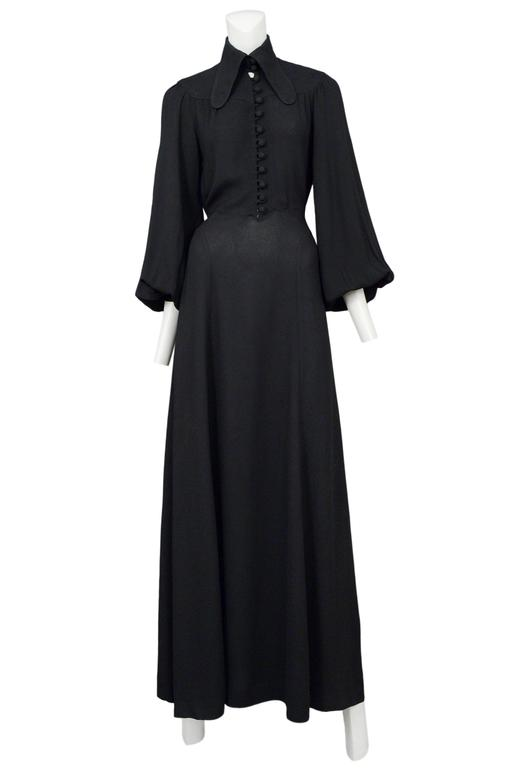 Ossie Clark Black Crepe Gown For Sale 3