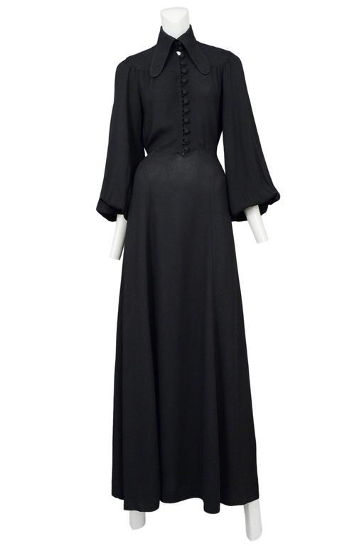 Ossie Clark Black Crepe Gown 7