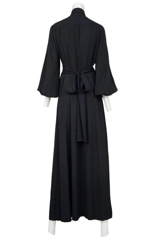 Ossie Clark Black Crepe Gown 8
