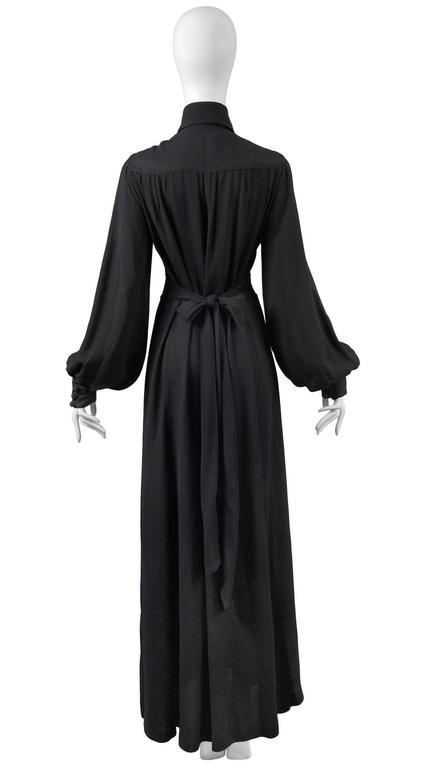 Women's Ossie Clark Black Crepe Gown For Sale