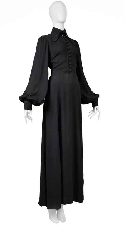 Ossie Clark Black Crepe Gown In Excellent Condition For Sale In Los Angeles, CA