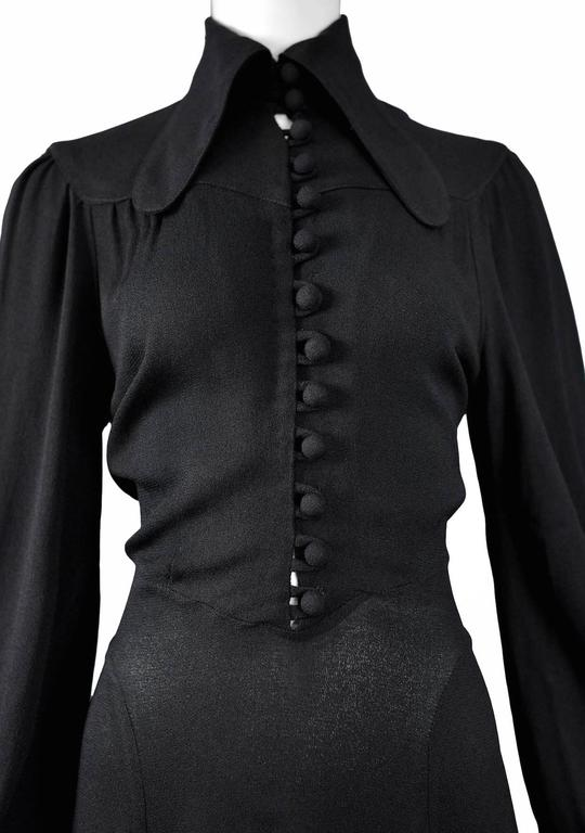 Ossie Clark Black Crepe Gown For Sale 1