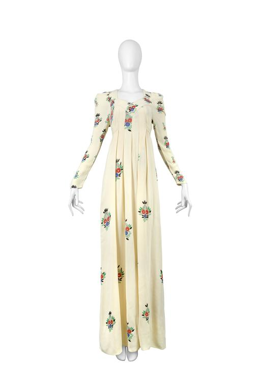 Ossie Clark Ivory Moss Crepe Gown with Floral Print by Celia Birtwell, 1970 2
