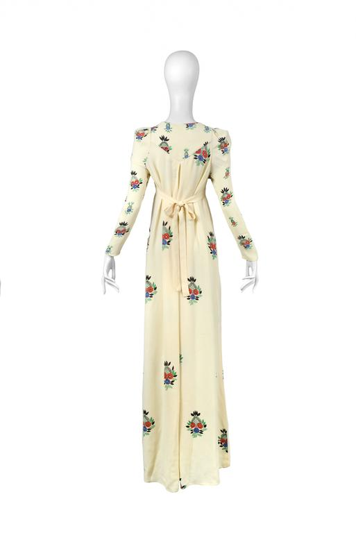 Ossie Clark Ivory Moss Crepe Gown with Floral Print by Celia Birtwell, 1970 4