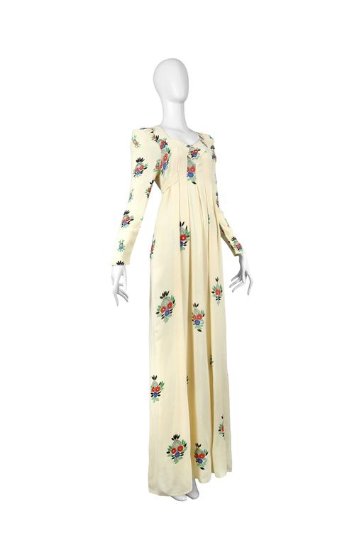 Ossie Clark Ivory Moss Crepe Gown with Floral Print by Celia Birtwell, 1970 3