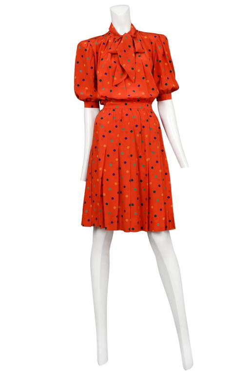 Yves Saint Laurent Red Polka Dot Day Dress 2