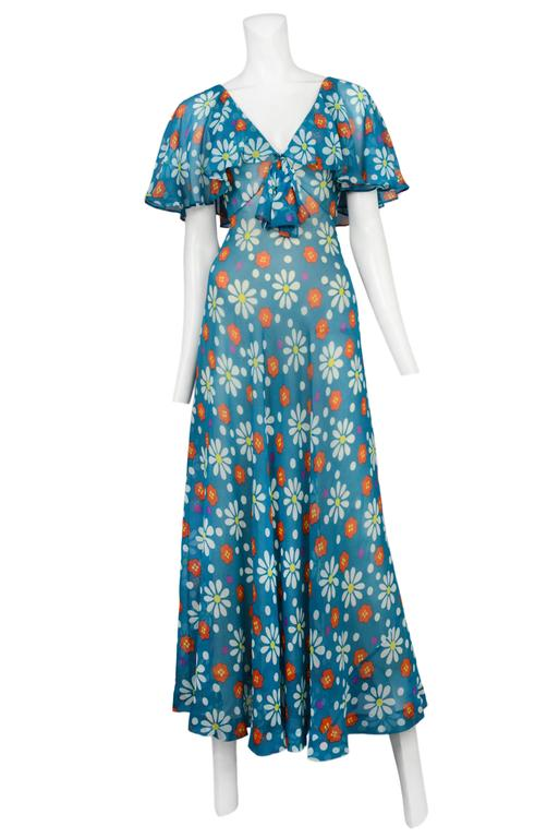 Yves Saint Laurent Teal Floral Maxi Gown 2