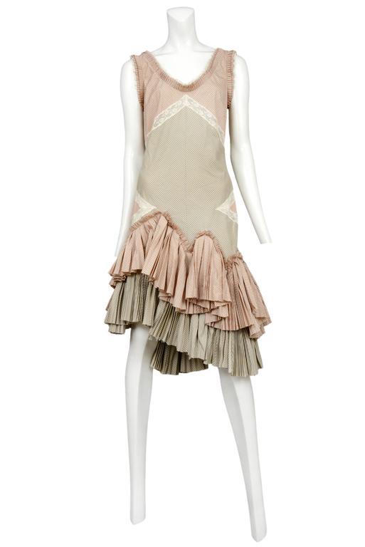 Alexander McQueen Pink Stripe Ruffle Dress 2004 2