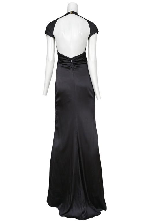 Tom Ford for Gucci Black Satin Knot Gown 3