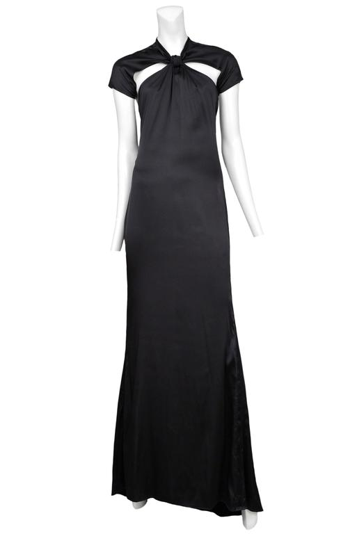 Tom Ford for Gucci Black Satin Knot Gown 2