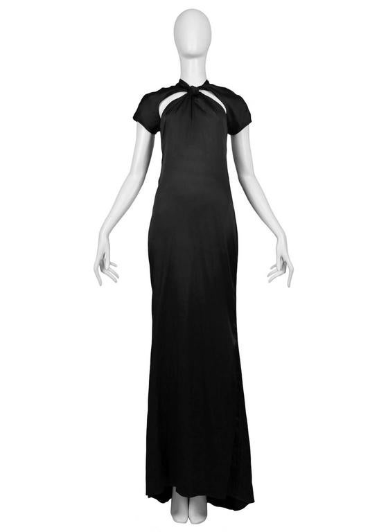 Tom Ford for Gucci Black Satin Knot Gown 4