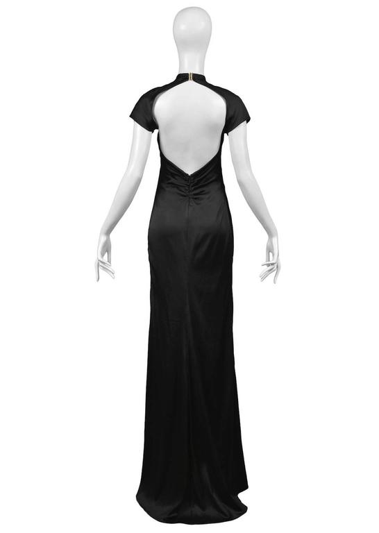 Tom Ford for Gucci Black Satin Knot Gown 5