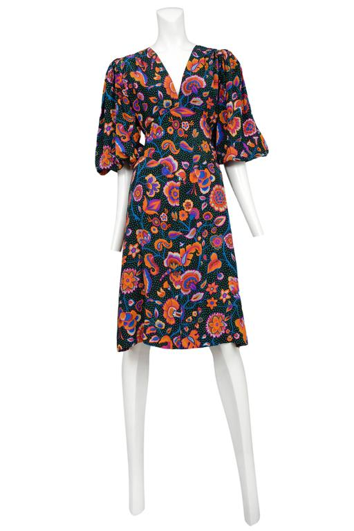 Yves Saint Laurent Multicolor Floral & Green Day Dress 2