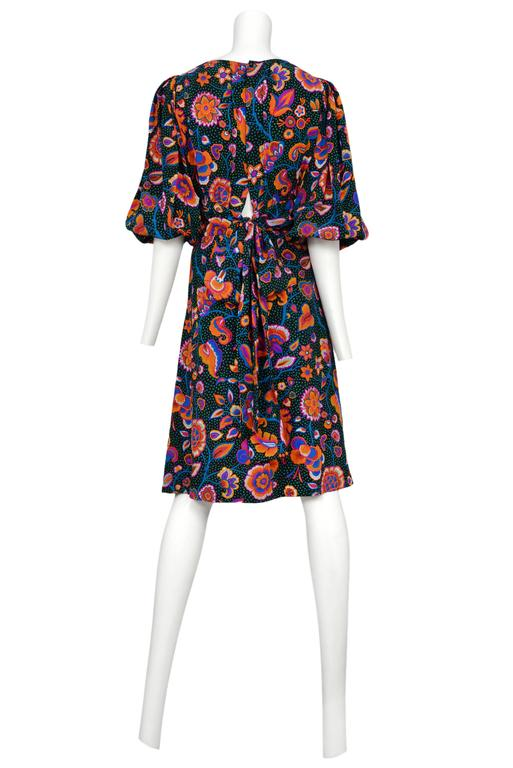 Yves Saint Laurent Multicolor Floral & Green Day Dress 3