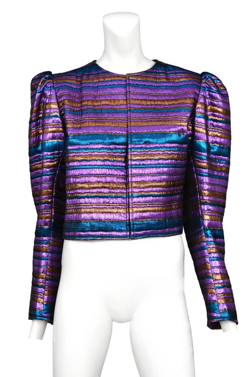 Yves Saint Laurent Metallic Purple & Blue Jacket In Excellent Condition For Sale In Los Angeles, CA