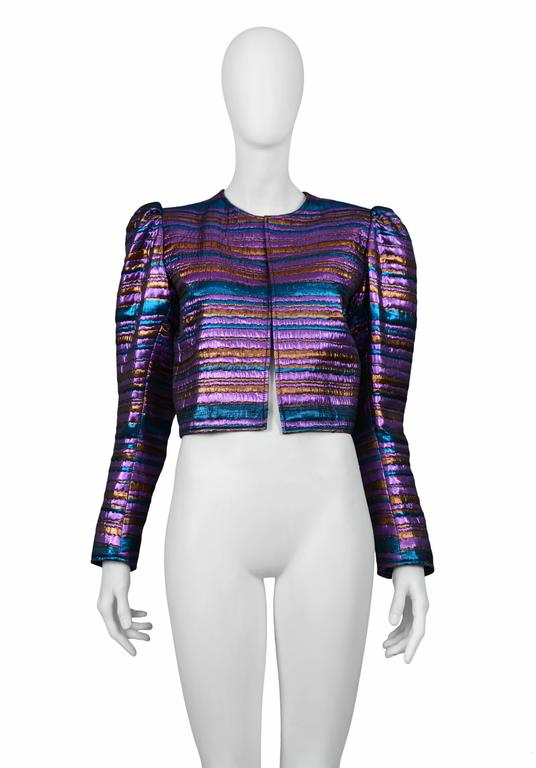 Vintage Yves Saint Laurent metallic cropped jacket featuring purple, bronze & blue padded horizontal stripes.