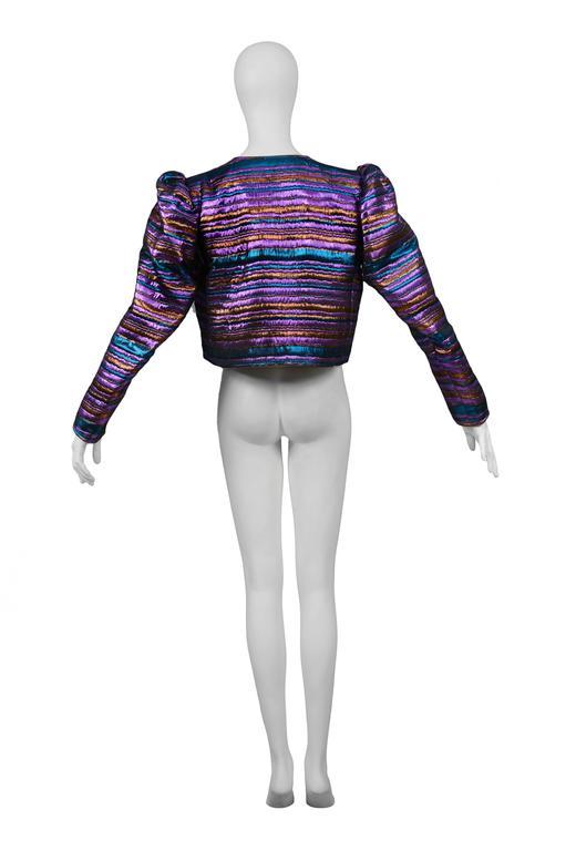 Yves Saint Laurent Metallic Purple & Blue Jacket For Sale 1