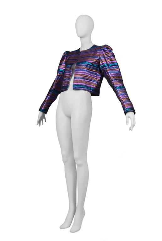 Women's Yves Saint Laurent Metallic Purple & Blue Jacket For Sale