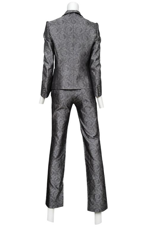 Balenciaga Silver Paisely Blazer & Pants Suit 2006 In Excellent Condition For Sale In Los Angeles, CA